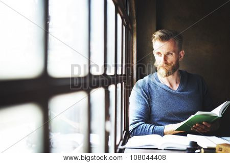 Man Reading Book Lifestyle Relaxation Concept