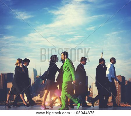 Business People Contrarian  Green Business Concept