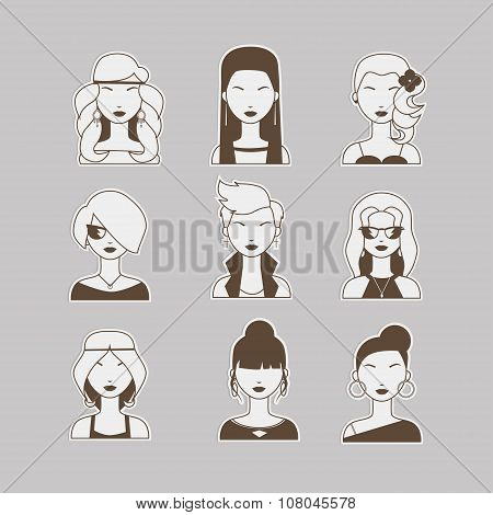Vector Illustration Of Young Beautiful Women Heads