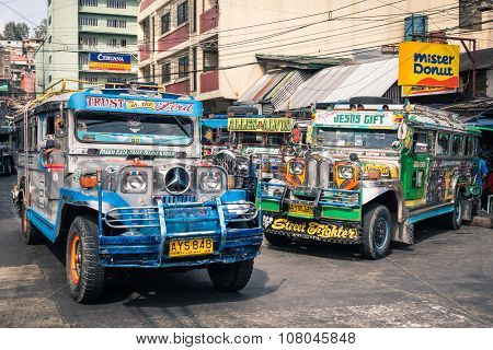 Colorful Jeepneys At Bus Station Of The City Of Baguio - Philippines