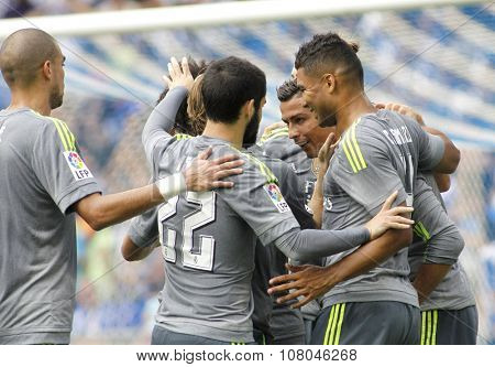 BARCELONA - SEPT, 12: Players of Real Madrid celebrating goal during a Spanish League match against RCD Espanyol at the Power8 stadium on September 12 2015 in Barcelona Spain