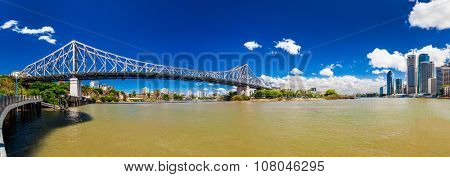 BRISBANE, AUS - NOV 13 2015: Panoramic view of Brisbane Skyline with Story Bridge and the river. It is Australias third largest city, capital of Queensland.