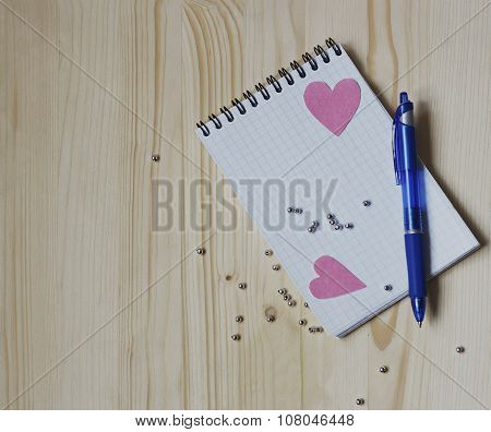 Hearts, Notepad And Pen.
