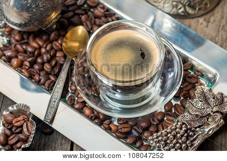 Espresso Glass Cup With Coffee Bean