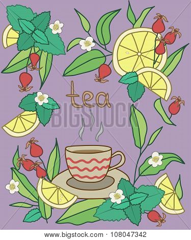 Tea Time. Bright vector illustration