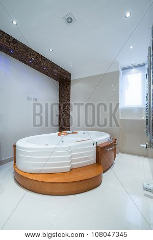 Interior Of A Luxury Bathroom With Jacuzzi Tub