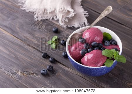 Blueberry ice cream with fresh blueberries and mint