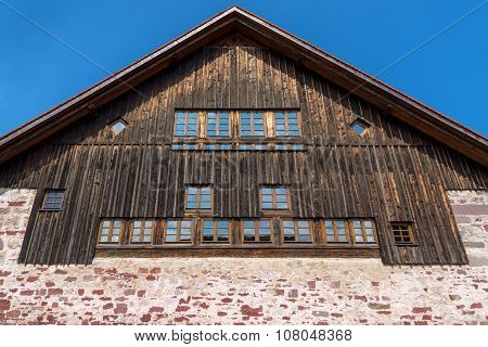 Gable of a rustic house