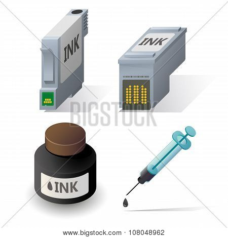 Isometric ink cartriges refill icons set