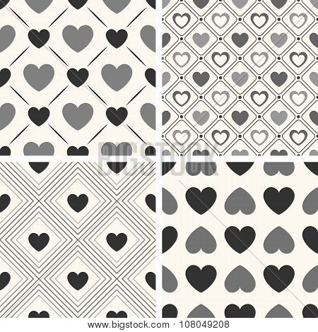 Heart shape seamless patterns. Black and white colors