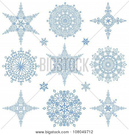 Snowflakes shapes collection.Winter icon.Star,round