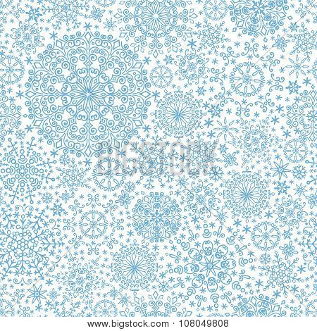 Snowflakes shapes seamless pattern