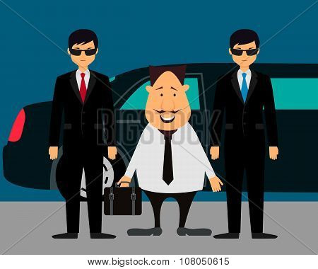 Businessman with bodyguards on the background of a limousine. Vector illustration