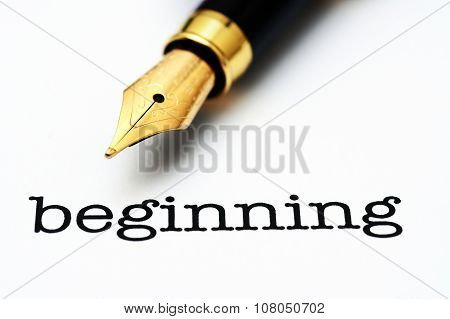 Fountain Pen On Beginning Text
