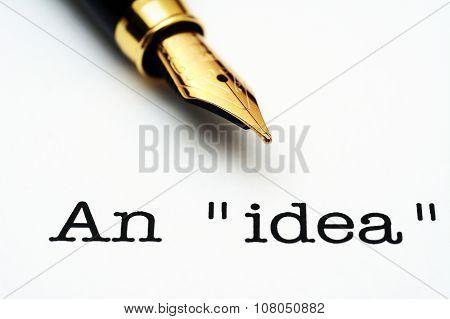 An Idea Text And Fountain Pen