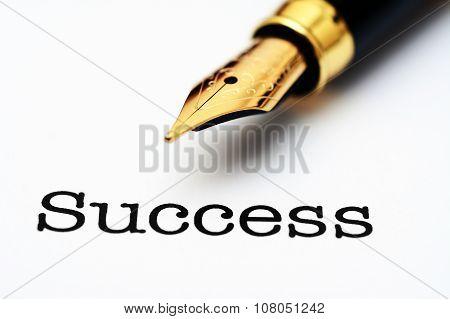 Fountain Pen On Success Text