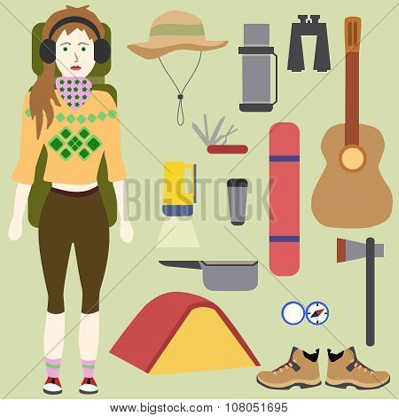 Woman tourist. Hiking and camping. Eco tourism. Stuff to the road. Vector illustration, flat design.