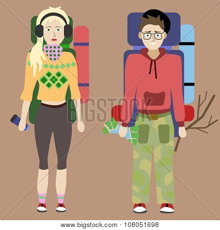 Young people. Hiking and camping. Eco tourism. Vector illustration, flat design.