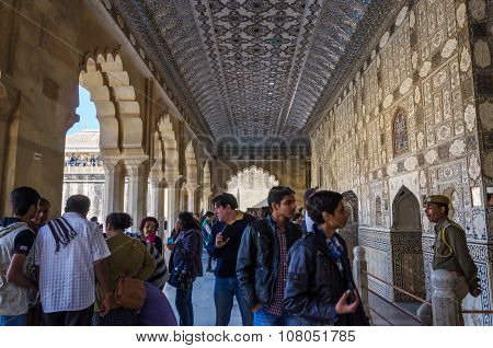 Jaipur, India - December29, 2014: Tourist Visit Amber Fort In Jaipur