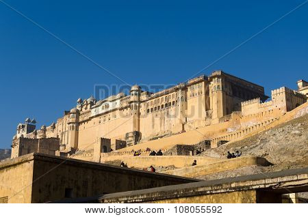Jaipur, India - December 29, 2014: Tourists Visit Amber Fort In Jaipu