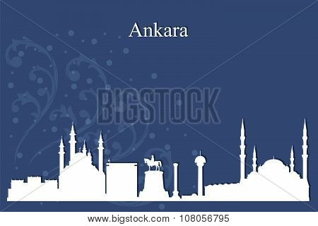 Ankara City Skyline Silhouette On Blue Background