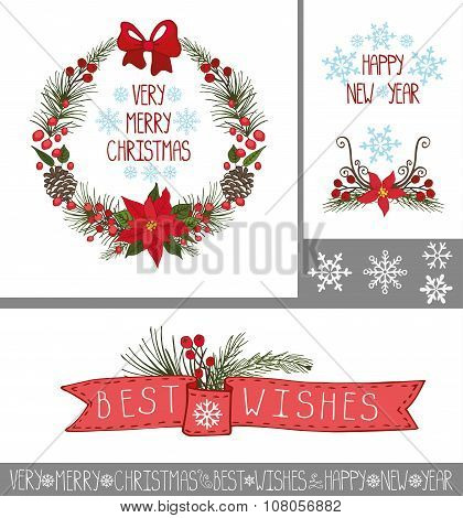 Christmas,New year greeting cards,banners,decor group