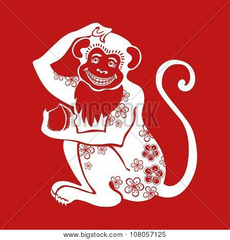 Monkey Chinese zodiac sign with flower ornament