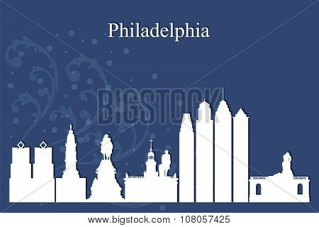 Philadelphia City Skyline Silhouette On Blue Background