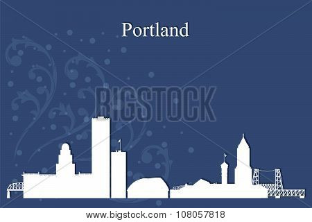 Portland City Skyline Silhouette On Blue Background