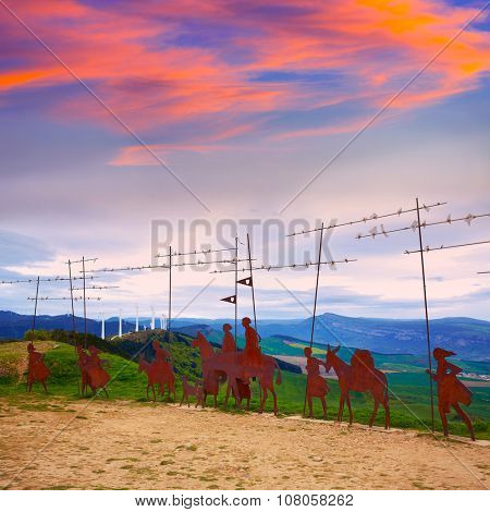 The way of Saint James Alto del Perdon top with steel sculpture of pilgrims at Navarra