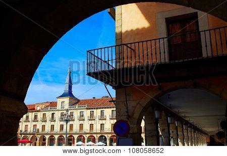 Leon Plaza Mayor arcade in Way of Saint James at Castilla Spain