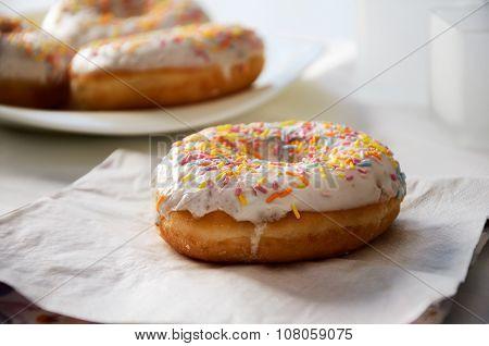 Donut On The Napkin Close-up. Horizontal