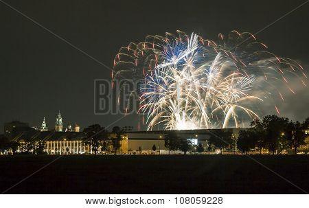 Poland, Krakow Skyline, Wawel Castle, Fireworks