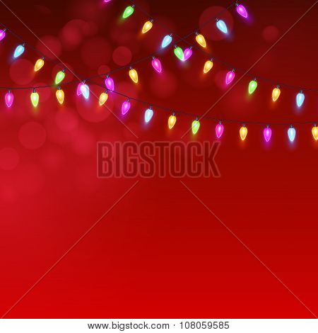 Christmas Red  background with luminous garland. Vector illustration