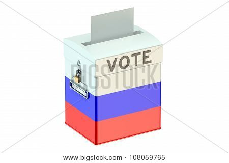 Ballot Box With Flag Of Russia, Voting Concept