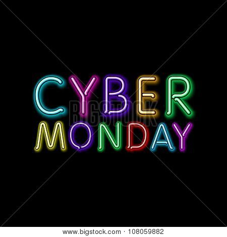 Vector Cyber Monday Sale Background. Vector Illustration Of Embossed Letters On Color Blurred Backgr