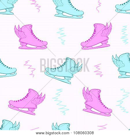 Seamless color winged skates