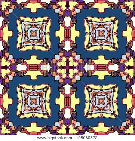 Seamless Fantasy Pattern. Decorative Kaleidoscope With Ornamental Squares And Hearts. Vector Illustr
