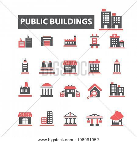 public buildings, houses  icons, signs vector concept set for infographics, mobile, website, application