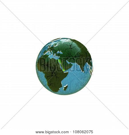 Planet Earth With Extruded Cracked Continents