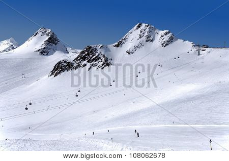 Skiing On Tiefenbach Glacier In Solden