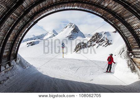 Ski Tunnel In Solden Ski Resort