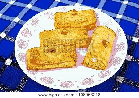 Illustration Of Puff Pastry With Apricot Filling