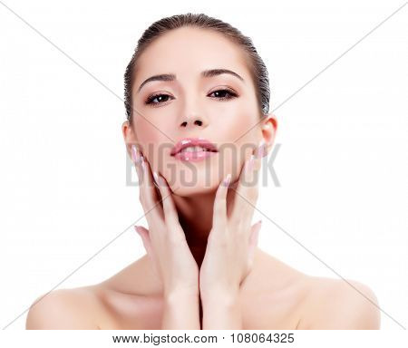 Pretty woman on a white background, isolated