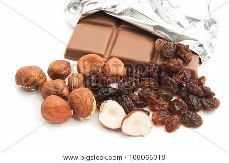 Chocolate, Hazelnuts And Raisins