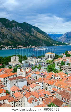 Top View Of Old Town And Yacht In Bay Of Kotor, Montenegro
