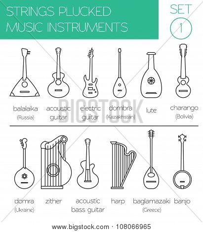 Musical instruments graphic template. Strings plucked
