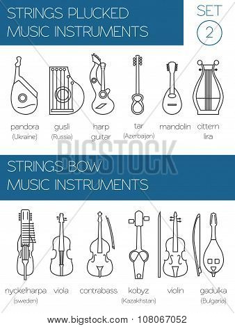 Musical instruments graphic template. Strings plucked and bow.