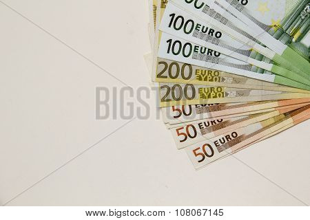 Euro Banknotes On Bright Background With Copy Space.concept Photo Of Money, Banking ,currency And Fo