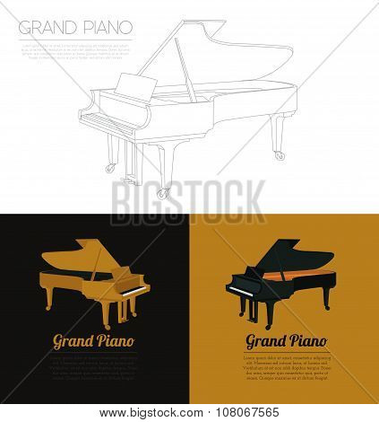 Musical instruments graphic template. Grand piano.